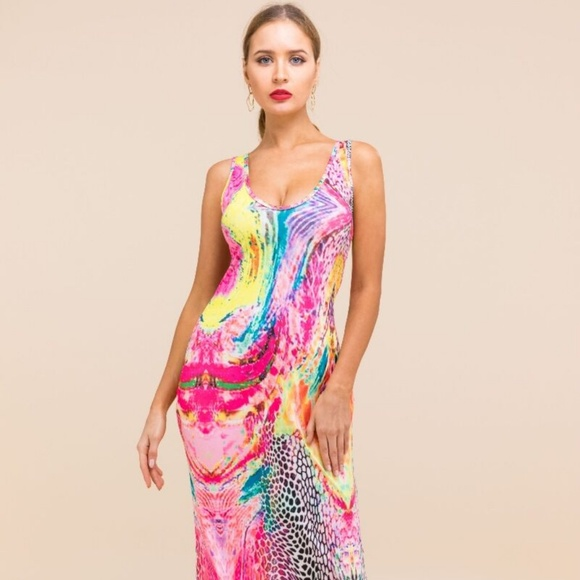 Pinkalicious Dresses & Skirts - Oh So Sexy Pink & Colorful Maxi Dress